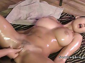 Huge tits lesbian brunette gets massage in oil