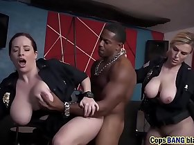 Two busty police officers caught black dude`s big hard cock