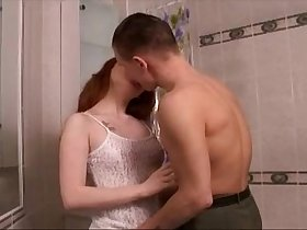 Redhead Wife Bangs Her Lover In The Shower
