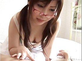 Subtitled Japanese CFNM femdom dick teasing handjob