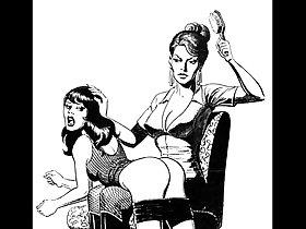 Girl vs girl catfight tribbing bondage spanking lesbian femdom fetish bdsm wrestling fight art