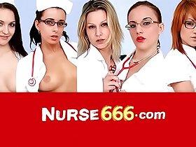 Vagina speculum self-exam with sexy nurse Elis Diamond