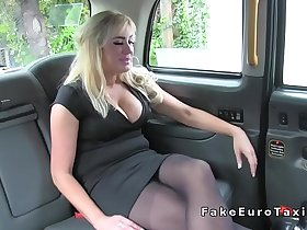 Huge tits Milf anal fingered in fake taxi
