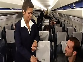 Charming brunette air-hostess Alyson Ray proposed passenger to poke her juicy ass after  scheduled flight